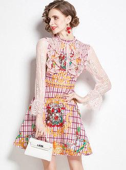 Jacquard Lace Patchwork A Line Skater Dress
