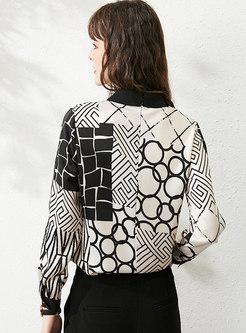 Geometric Print Single-breasted Satin Blouse