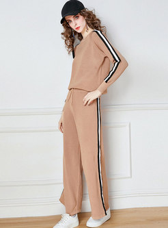 Crew Neck Striped Patchwork Knitted Pant Suits
