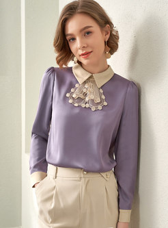 Color-blocked Satin Mesh Pullover Blouse
