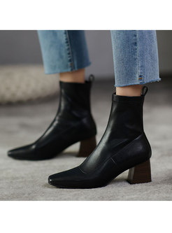 Square Toe Block Heel Short Stretch Boots