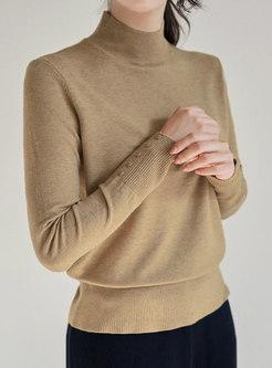 Half Turtleneck Solid Pullover Slim Sweater