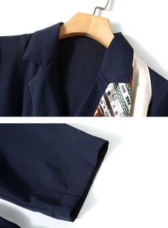 Work Notched Collar Printed Shirt Dress