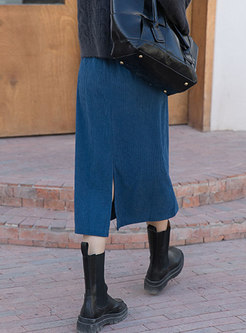High Waisted Corduroy A Line Long Skirt