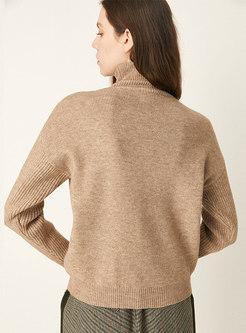 Turtleneck Long Sleeve Ribbed Soft Sweater