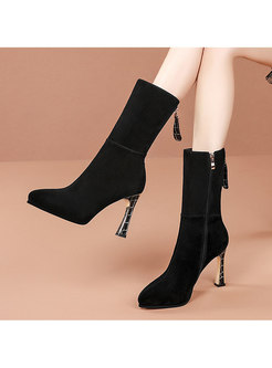 Pointed Toe High Heel Mid-calf Boots