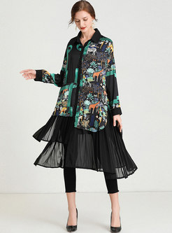 Plus Size Animal Print Pleated Shirt Dress