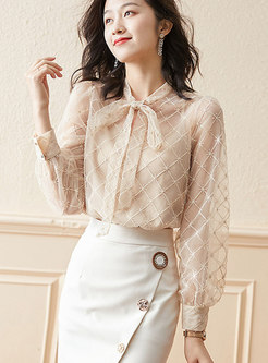 Bowknot Embroidered Beaded Blouse With Camisole