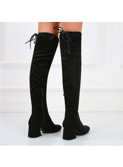 Faux Suede Chunky Heel Over Knee Boots