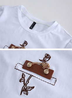 Crew Neck Embroidered Pullover Cotton T-shirt