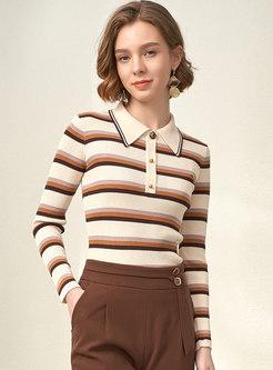 Turn Down Collar Striped Slim Sweater