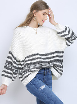 Plus Size Pullover Striped Loose Sweater