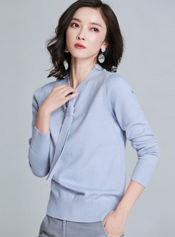V-neck Ribbon Long Sleeve Pullover Sweater