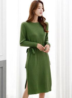 Solid Long Sleeve Split Midi Sweater Dress