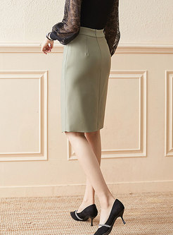 High Waisted Split Knee-length Sheath Skirt