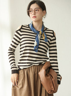 Cold Shoulder Pullover Striped Sweater