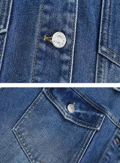 Turn Down Collar Short Straight Denim Jacket