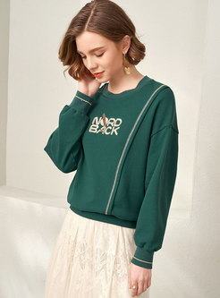 Letter Embroidered Pullover Casual Sweatshirt