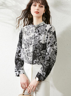 Mock Neck Ink Print Single-breasted Blouse