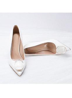 Pointed Toe Metal Low-fronted Heels