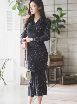 V-neck Polka Dot Long Sleeve Bodycon Mermaid Dress