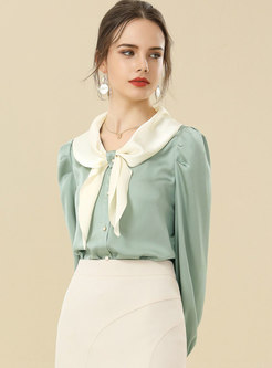 Color-blocked Bowknot Single-breasted Satin Blouse