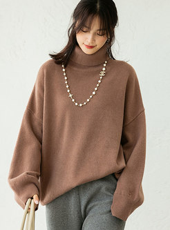 Turtleneck Pullover Solid Loose Sweater