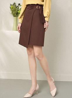 High Waisted Straight Asymmetric Skirt
