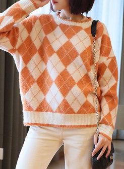 Long Sleeve Diamond Pullover Sweater