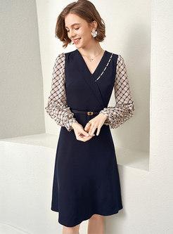 V-neck Plaid Belted Patchwork Knee-length Dress