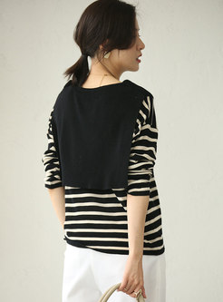 Striped Patchwork Pullover Loose Sweater