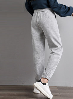 Drawstring High Waisted Casual Long Joggers