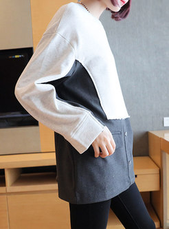 Color-blocked Pullover Patchwork Loose Top