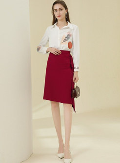 Solid High Waisted Ruffle A Line Skirt