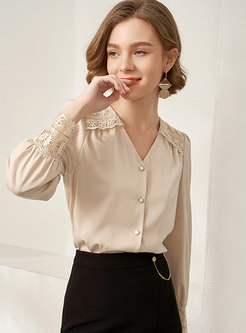 V-neck Openwork Single-breasted Satin Blouse