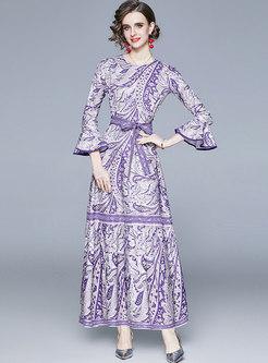 Flare Sleeve Print Big Hem Party Maxi Dress