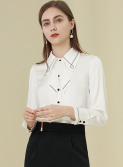 White Lapel Single-breasted Embroidered Blouse