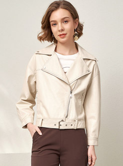 Lapel Side Zipper Short PU Biker Coat