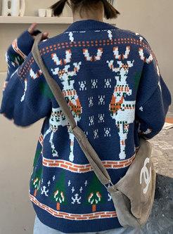 Crew Neck Christmas Deer Print Pullover Sweater