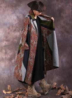 Lapel Color-blocked Print Straight Long Coat
