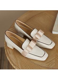 Square Toe Bowknot Block Heel Shoes