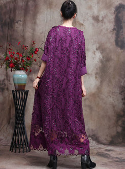 Openwork Lace Sequin Shift Maxi Dress