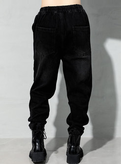 Black High Waisted Washed Harem Pants