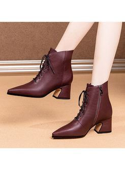 Pointed Toe Lace-up Chunky Heel Ankle Boots