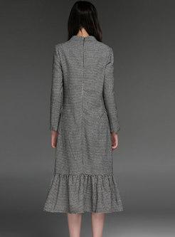 Mock Neck Houndstooth Shift Midi Dress