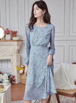Long Sleeve Print High Waisted Skater Dress