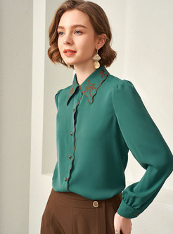 Turn Down Collar Embroidered Brief Blouse