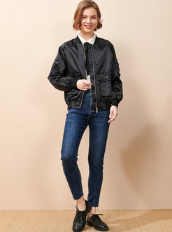 Crew Neck Letter Embroidered Loose Jacket