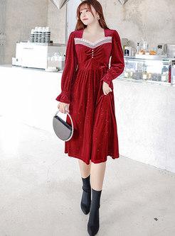 Square Neck Patchwork Polka Dot Velvet Cocktail Dress