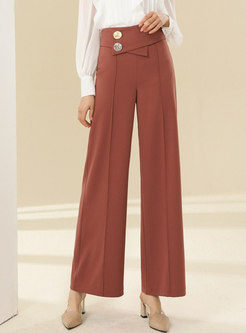 High Waisted Wide Leg Pants With Metal
